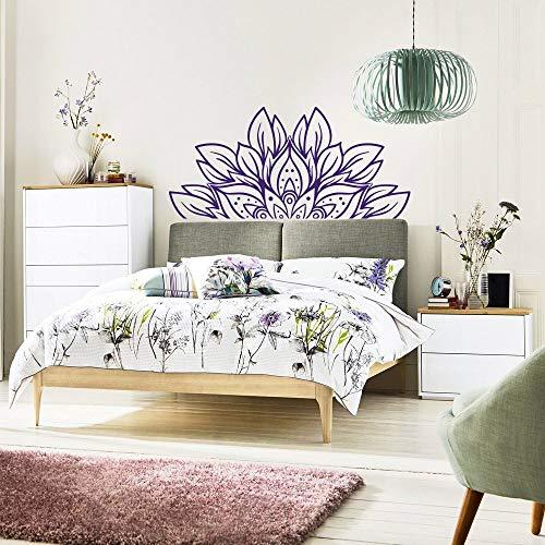 Abstracte bloem mandala hoofdeinde wandtattoo kunst slaapkamer decoratie helft mandala huis muursticker verwijderbaar vinylbehang