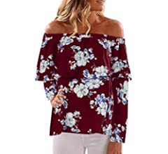 Fashion Tops for Women Floral Off Shoulder Long Sleeve Shirts Lace Trim Tassel Blouses Casual Loose T-Shirt Pullover