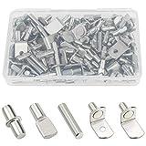 Sutemribor 85PCS Nickel Plated Shelf Bracket Pegs Cabinet Furniture Shelf Pins Support, 5 Styles