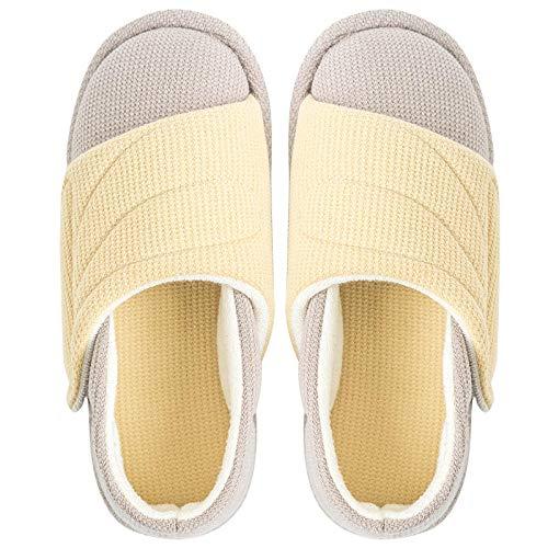 Extra brede, gezellige antislip huisschoenen,Plateauzool met postpartum-pantoffels, verstelbare antislip-opsluitschoenen-38_geel,Plantar Fasciitis sneakers Air Shoe