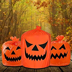Aobp - Bolsa de basura de hoja de calabaza de Halloween para decoración de fiesta o decoración de patio.