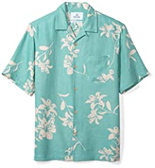 Made in China A vibrant print adds tropical appeal to this relaxed fit aloha shirt made with a lightweight silk-linen blend for beach or out-of-office style Relaxed fit: Cut generously in the chest and waist Convertible collar, left chest pocket, coc...