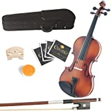 Mendini 15-Inch MA350 Satin Antique Solid Wood Viola with Case, Bow, Rosin, Bridge and Str...