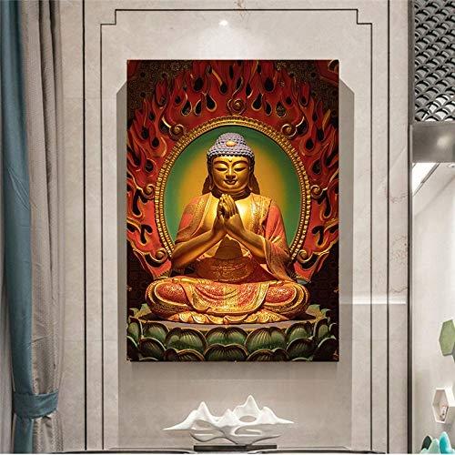 AQgyuh Puzzle 1000 Piezas Estatua de Buda con Loto Sentado en Loto Puzzle 1000 Piezas Adultos Rompecabezas de Juguete de descompresión Intelectual Educativo Divertido Juego familiar50x75cm(20x30inch)