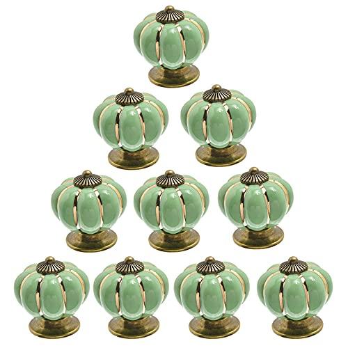 POFET 10 pomelli in ceramica vintage zucca armadio cassetto tira armadio maniglie mobili casa decoratin verde chiaro