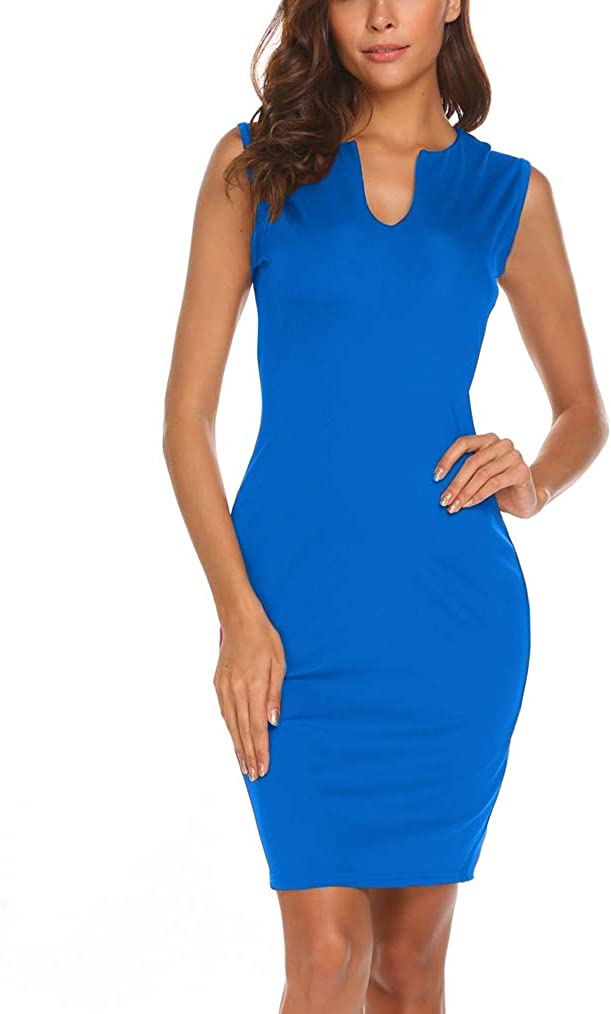 Naggoo Women's Business Wear to Work Sleeveless V Neck Bodycon Pencil Dress