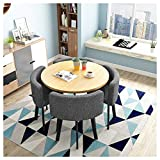 Cafe Tables And Chairs Simple Office Leisure Table Modern Design Round Table 80cm1 Table4 Chairs 5piece Kitchen Dining Table Chairs Detachable Tables And Chairs Wooden Metal Legs Color: Gray + Blue
