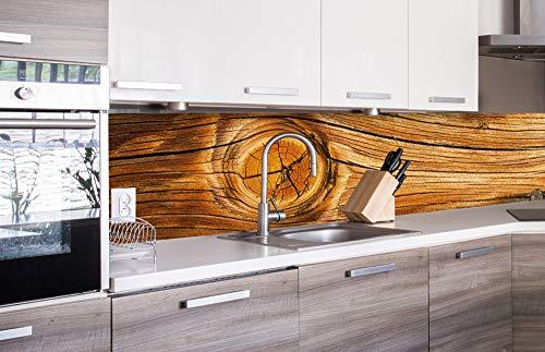 Küchenrückwand Folie selbstklebend HOLZ KNOTEN 260 x 60 cm | Klebefolie - Dekofolie - Spritzchutz für Küche | PREMIUM QUALITÄT
