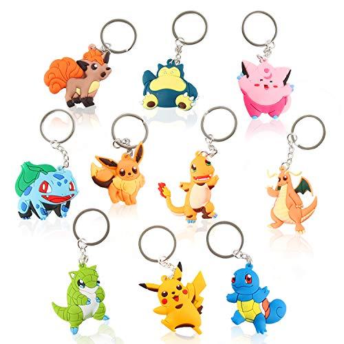Porte-Clés Pikachu, Poche Monster Alliage Porte-Clés Unisexe, 10 PiècesPikachu Monster, Anneau de Clé, Convient pour la décoration de fête des Enfants, Les Cadeaux de Noël, Les Cadeaux d'anniversaire