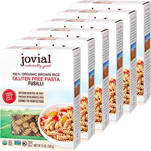 Jovial Fusilli Gluten-Free Pasta | Whole Grain Brown Rice Fusilli Pasta | Non-GMO | Lower Carb | Kosher | USDA Certified Organic | Made in Italy | 12 oz (6 Pack)