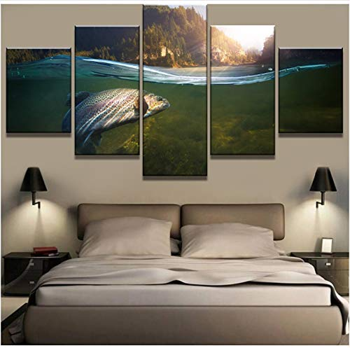 ALIANSHUO Canvas Painting 5 Piece Big Fish In The Lake Landscape Canvas Wall Art Picture For Living Room Home Decor 100x55cm