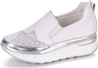 [OceanMap] 厚底スニーカー レディース 厚底スリッポン インヒール 靴 スニーカー 軽量 歩きやすい 疲れない 春 夏 便利 大人 カジュアル シューズ レースアップ ゆったり 履き心地よい オシャレ 可愛い 黒 白 6.5cmヒール