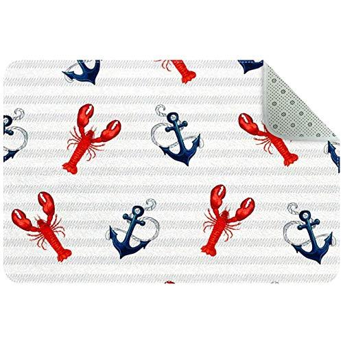 Bennigiry Alfombra de langosta marina tropical con ancla en rayas, alfombra para sala de estar, dormitorio, sala de juegos, 31 x 20 pulgadas