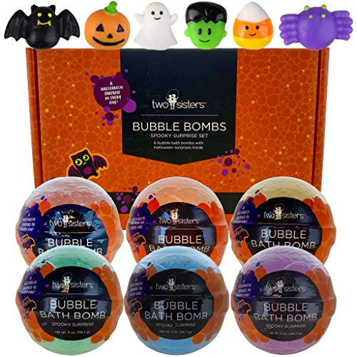 Spooky Bubble Bath Bombs for Kids with Surprise Halloween Squishy Toys Inside by Two Sisters. 6 Large 99% Natural Fizzies in Gift Box. Moisturizes Dry Skin. Releases Color, Scent, Bubbles