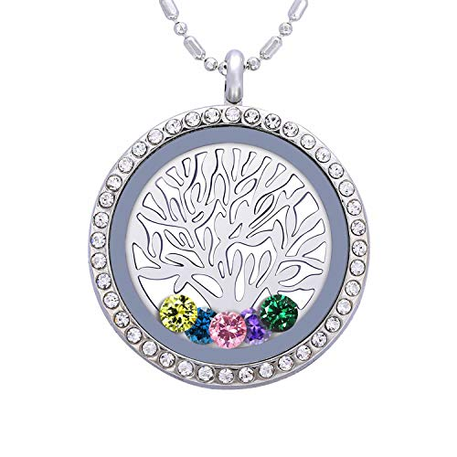 Birthstone Family Tree of Life Necklace, Floating Charm Living Memory Locket with 24 Birthstone & 2 Family Tree Plate DIY Pendant Gifts (Tree of Life A04)