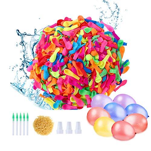 Herefun Globos de Agua1000Pcs+1000Pcs Bandas de Goma, Globos de Agua Juegos Globos de Agua Color Incluye 5 Mangueras de Herramientas, 3 Boquillas de Manguera