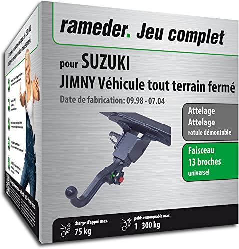 Rameder Pack, attelage rotule démontable + Faisceau 13 Broches Compatible avec Suzuki JIMNY Véhicule Tout Terrain fermé (162622-03972-2-FR)