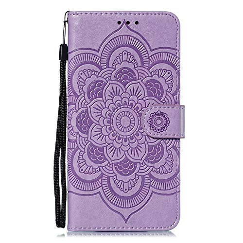 JIUNINE Hülle für Xiaomi Mi 9 Lite, Handyhülle Leder Flip Hülle mit Mandala Muster [Kartenfach] [Magnetverschluss] [TPU Innenschale] Schutzhülle Cover Lederhülle für Xiaomi Mi 9 Lite, Lila