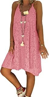 Zimaes Women's Lace Summer Spaghetti Strap A-line Loose V Neck Dress