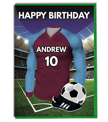 Gepersonaliseerde Voetbal Verjaardagskaart voor - Papa - Echtgenoot - Zoon - Dochter - Moeder - Claret en Blauw Shirt