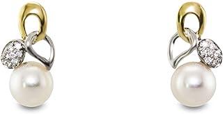 MIKURA Freshwater Pearl 2 Tone Earrings, 7.5mm, Diamonds, 18K