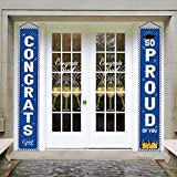 Whaline Graduation Porch Sign Congrats Grad Door Sign So Proud of You Banner Graduation Welcome Hanging Banner Graduation Party Backdrop for Grad Party Outdoor Yard Decorations (Blue)
