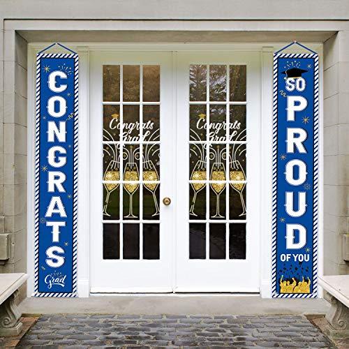 Whaline 2020 - Letrero de graduación para puerta de graduación con texto en inglés 'So Proud of You', texto en inglés 'Welcome Banner de graduación', color azul
