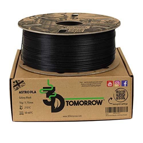 3DTomorrow Galaxy Black Astro PLA Filament 1.75mm, Metallic PLA, 100% Recyclable Cardboard Spool Eco Friendly Premium 3D Printer Filament