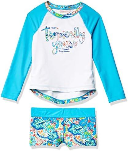 Tommy Bahama Girls Long Sleeve 2 Piece Rashguard Swimsuit Bathing Suit Turq Tropical 4T product image