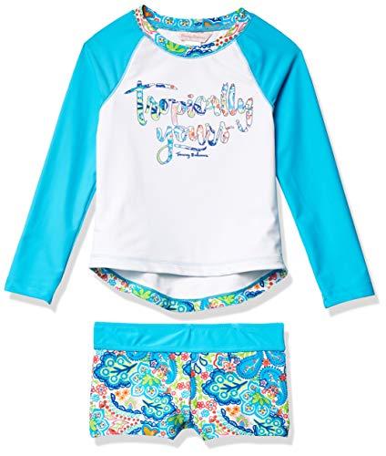 Tommy Bahama Girls' Long Sleeve 2-Piece Rashguard Swimsuit Bathing Suit, Turq Tropical, 2T