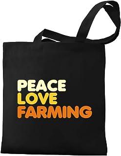 Eddany PEACE LOVE Farming Canvas Tote Bag
