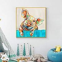 キャンバスの壁の芸術ファンキーな豚の壁の芸術の装飾漫画の動物の絵画は子供の部屋のための現代の絵を印刷します家の壁の装飾50x50cmフレームレス