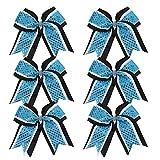 Cheerleader Bows 8 Inch 3 Layers 6 Pcs Ponytail Holder Jumbo Cheerleading Bows...