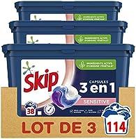 Skip Ultimate Lessive Capsules Trio Sensitive x114 Hypoallergénique, Capsules de détergent 3en1 Formule Spécial Bébés et...