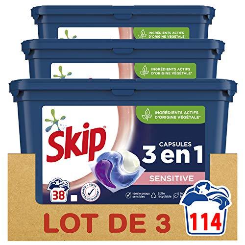 Skip Ultimate Lessive Capsules Trio Sensitive x114 Hypoallergénique, Capsules de détergent 3en1 Formule Spécial Bébés et Peaux Sensibles 114 Lavages (Lot de 3x38 Lavages)