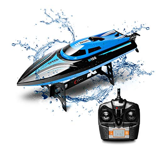 DeeXop Rc Boat H100 2.4Ghz 4CH Remote Control Electric Racing Boat High Speed...
