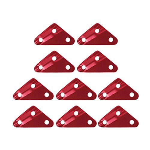 【ノーブランド品】アルミ自在 10個セット 三角形 アウトドア 全2色 2サイズ (レッド, 6mm)