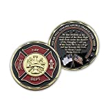 """Firefighters Coin, Firefighter Challenge Coin, Pocket Token of Appreciation and Protection. """"My God, in whom I Trust"""". Gold Plated Challenge Coin. Firefighter Souvenir, Psalm 91 Gift"""