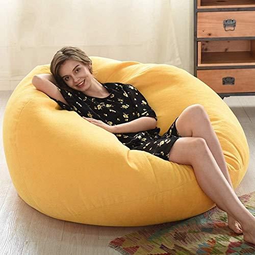 xcxc Sitzsackbezüge ohne Füllung, Sitzsack-Aufbewahrungsstuhlbezug Abbaubare Samt-Baumwollspielzeugaufbewahrung für perfekte Lounge- oder Gaming-Stühle, gelb, 90 * 110 cm