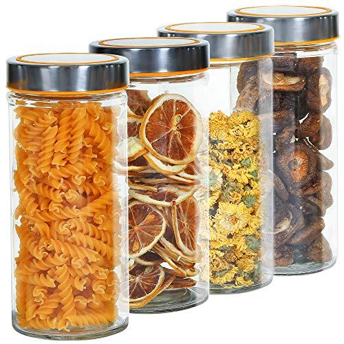 RUBY Bote Cristal Cocina Tarro De Cristal Hermetico,Botes Cristal Con Tapa Bote Para Frutos Secos Espaguetis Botes Cocina Almacenaje Set (4 Botes, 820 ML)