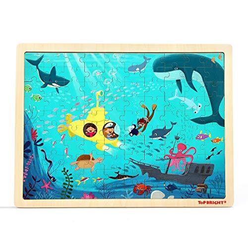 TOP BRIGHT Puzzle 3+ de Madera, Rompecabezas Puzzle Juguetes de Aprendizaje Bebes para de 1 2 3 4 5 Años Niños Montessori Juegos educativos 3 años 100 Pieza