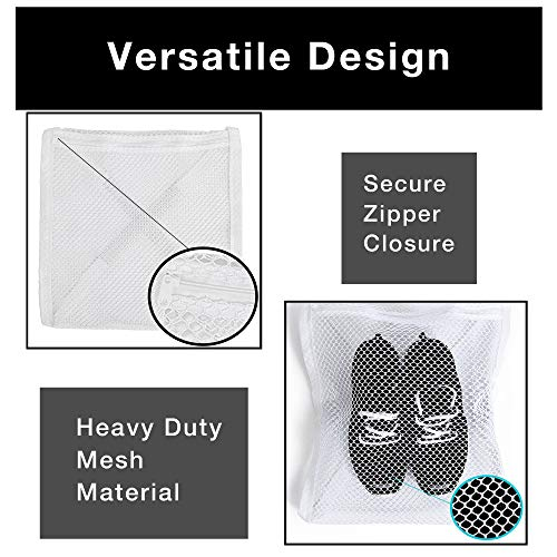 White /& Laundry Clothing 15.5 x 15.5 Inch Durable Fabric for Shoes Smart Design Sneaker Dryer /& Wash Bag w// Elastic Straps Home Organization