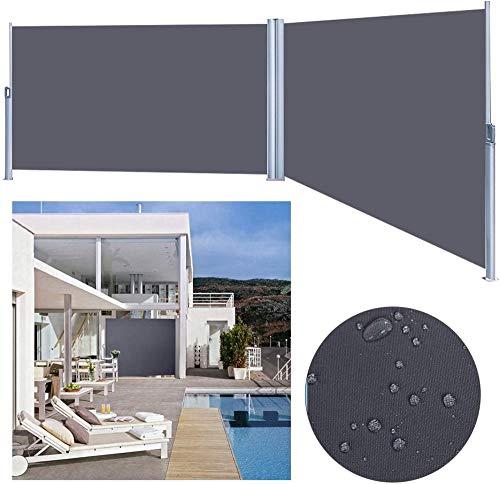 Shade Toldo doble de 180 x 600 cm toldo lateral antracita extensible TÜV resistencia al desgarro protección de privacidad lateral protección UV probada para toldo extensible terraza balcón 0715