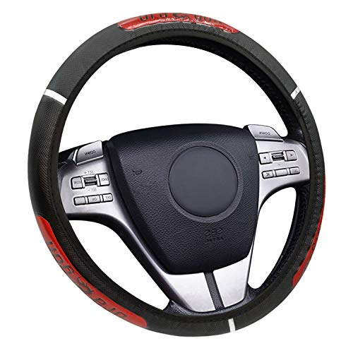 Universal 15 inch Black Leather Steering Wheel Cover, with Dragon Totem,with Nice Package