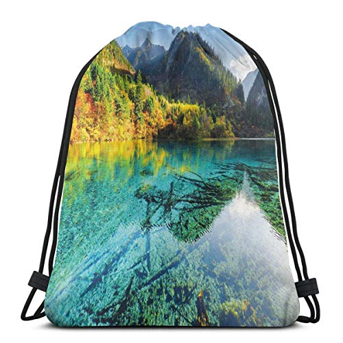 Odelia Palmer Printed Drawstring Backpacks Bags,Idyllic Mountain Creek Crystal Water Forest Pastoral Rural Landscape,Adjustable String Closure