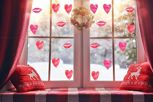 IARTTOP Love Heart Wall Art Decal & Sexy Lips Wall Sticker for Couple Home Decor Wedding Favor, Great Decorations for Valentine