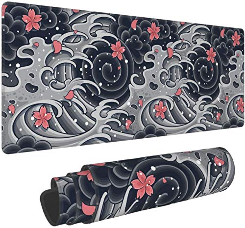 Japanese Wave with Sakura Gaming Mouse Pad XL,Extended Large Mouse Mat Desk Pad, Stitched Edges Mousepad,Long Non-Slip Rubber Base Mice Pad,31.5X11.8 Inch