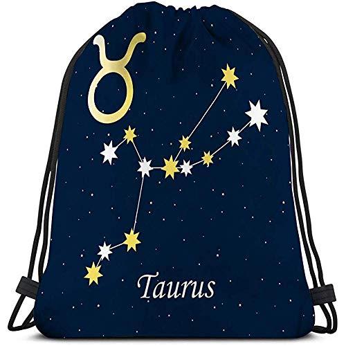 MOTALIN Gym Sack Beutel,Kordelzug Taschen,Turnbeutel,Sporttaschen,Tüte,Mann Frauen Tasche Sternbild Stier Sternzeichen Horoskop Astrologie Sterne Nacht Illu