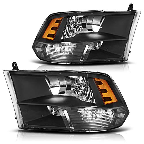 AUTOSAVER88 Headlight Assembly Compatible with 09-18 Dodge Ram 1500 2500 3500 Pickup Replacement Headlamp,Black Housing Clear Lens