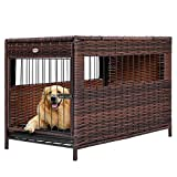 DEStar Heavy Duty PE Rattan Wicker Pet Dog Cage Crate Indoor Outdoor Puppy House Shelter with Removable Tray and UV Resistant Cover (Medium - 23' W x 25' H)